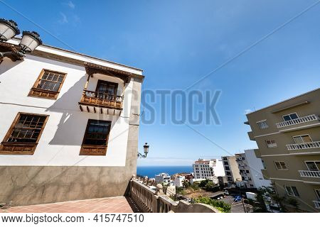 Canary Islands, Spain. The Streets Of The Old Town Of Icod De Los Vinos On The Island Of Tenerife