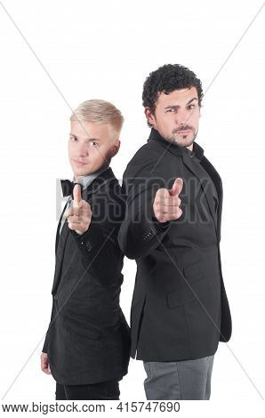 Two White Men Pointing With Their Fingers