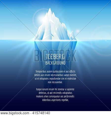 Realistic Iceberg On Water. Antarctic Landscape, Nature Ocean, Snow And Ice, Vector Illustration