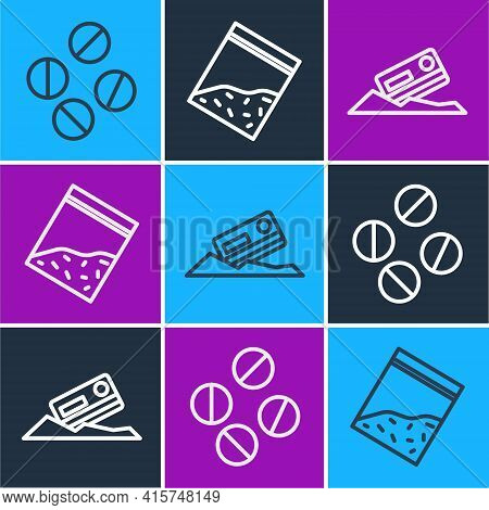 Set Line Medicine Pill Or Tablet, Cocaine And Credit Card And Plastic Bag Of Drug Icon. Vector