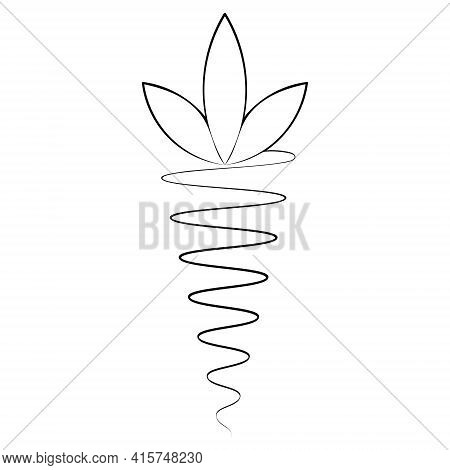 Carrot. Sketch. Delicious Root Vegetable Drawn By Line. Fluffy Foliage. Vector Icon. Black And White