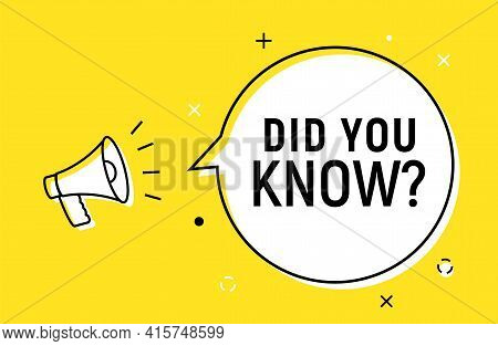 Did You Know Question Fact Vector Background. Education Did You Know Quiz Trivia Info