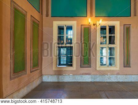 Corner Orange Wall With Two Wooden Windows With Green Shutters, Beautiful Elegant Rectangular Green