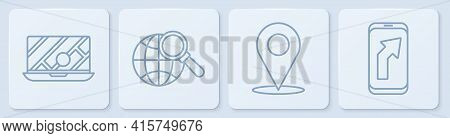 Set Line City Map Navigation, Location, Magnifying Glass With Globe And City Map Navigation. White S