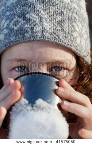 Girl Drinking From Flask Cup