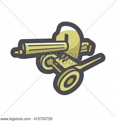 Military Maxim Machine Gun Vector Icon Cartoon Illustration