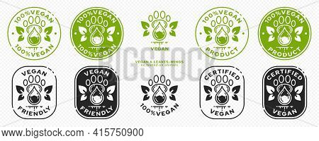 Concept For Product Packaging Or Menu. Labeling - Vegan. Animal Footprint Icon With Test Drop And Wi
