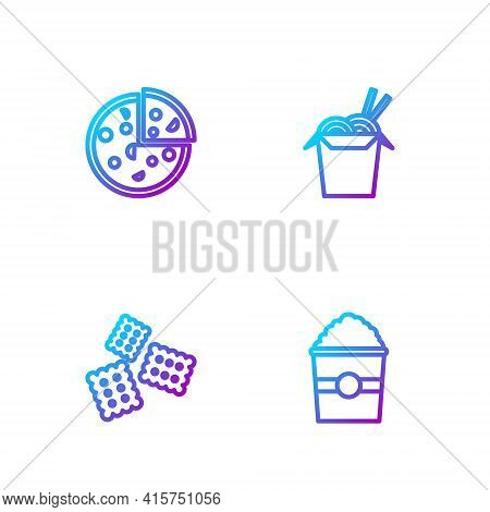 Set Line Popcorn In Box, Cracker Biscuit, Pizza And Asian Noodles And Chopsticks. Gradient Color Ico