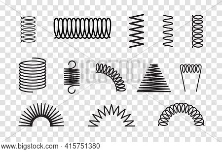 Metal Spring Set Spiral Coil Flexible Icon. Wire Elastic Or Steel Spring Bounce Pressure Object Desi
