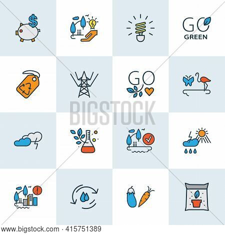 Ecology Icons Colored Line Set With Weather, Fauna, Thunder And Other Label Elements. Isolated Illus