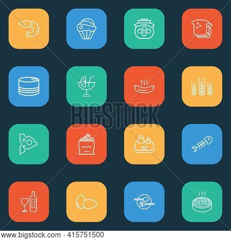 Nutrition Icons Line Style Set With Cupcake, Cheese Slice, Wheat And Other Cafe Elements. Isolated I