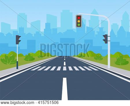 City Road On Crosswalk With Traffic Lights. Markings And Sidewalk For Pedestrians. Without Any Cars