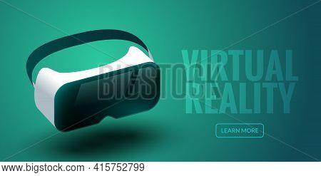 Vr Glasses Vector Virtual Reality Headset 3d. Virtual Reality Helmet Futuristic Glass Goggles Illust