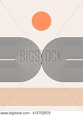 Abstract Modern Bohemian Contemporary Geometric Minimal Pattern Art Style. Wall Line Boho Abstract S
