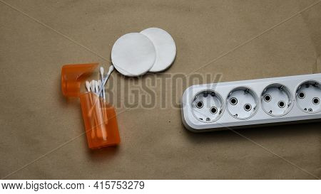 White Plastic Extension Socket Need To Clean. Cleaning And Maintenance Of Electric Extender Equipmen