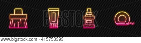 Set Line Mouthwash Bottle, Handle Broom, Tube Of Toothpaste And Dental Floss. Glowing Neon Icon. Vec