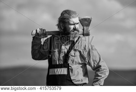Handsome Guy Brutal Temper. Professional Occupation. Man In Uniform Hold Ax. Brutal Bearded Man Axe