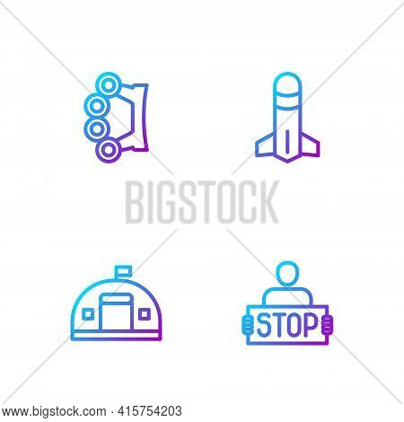 Set Line Stop War, Military Barracks, Brass Knuckles And Rocket. Gradient Color Icons. Vector