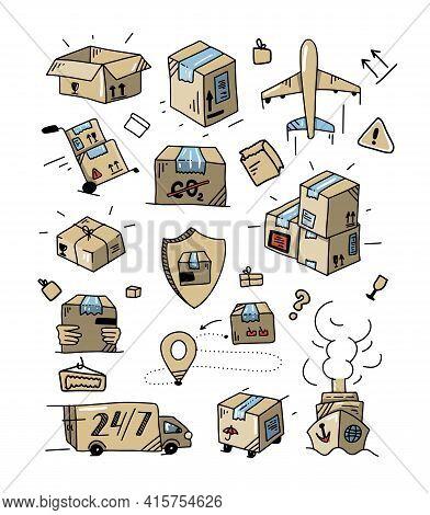 Colorful Doodle Delivery Set. Outline Logistics Collection. Hand Drawn Transportation Elements. Dood