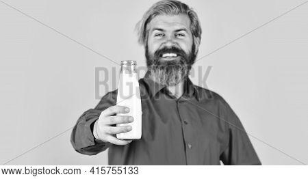 Bearded Man Drink Useful Milk. Unsweetened Coconut Almond Blend Milk. Healthy Useful Vegan Drink. Us