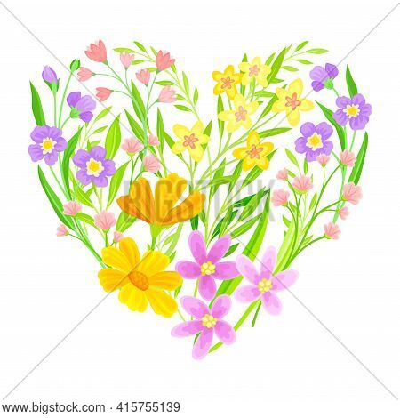 Heart Shaped Floristic Composition Of Blooming Spring Meadow Flowers Vector Illustration