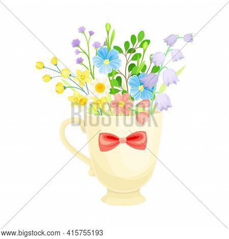 Mug With Fragrant Blooming Flowers As Floristic Spring Vector Composition