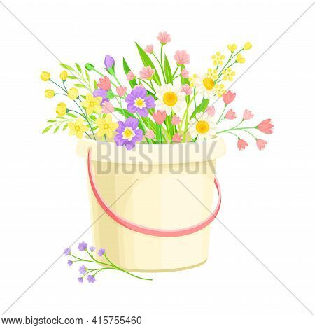 Pail With Fragrant Blooming Flowers As Floristic Spring Vector Composition