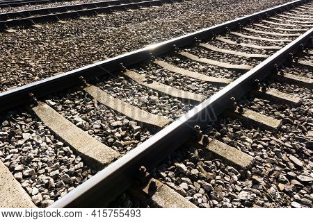 Railroad Background. Railway Perspective. Train Track Landscape. Old Railroad Wooden Tie. Track Ball