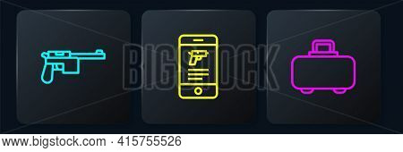 Set Line Mauser Gun, Weapon Case And Shop Weapon In Mobile App. Black Square Button. Vector
