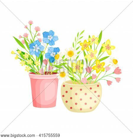 Flowerpot With Fragrant Blooming Flowers As Floristic Spring Vector Composition