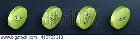 Set Isometric Line Wheelchair, Heart Rate, Nurse And Reddish Eye Icon. Vector