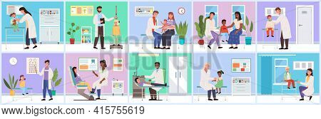 Set Of Illustrations About Provision Of Medical Services. Doctor Working With Patients In Hospital