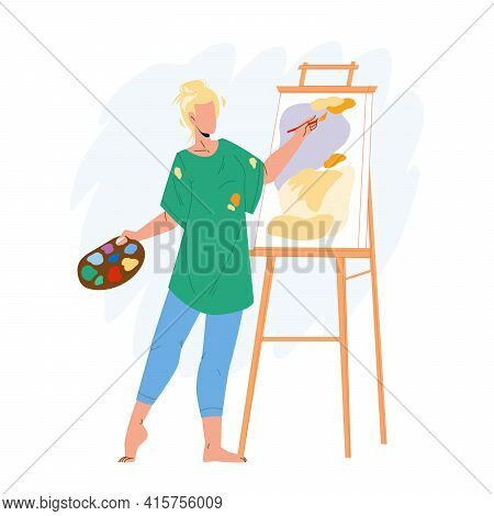 Artist Woman Painting Picture On Canvas Vector. Young Girl Artist Drawing And Creating In Studio Wit