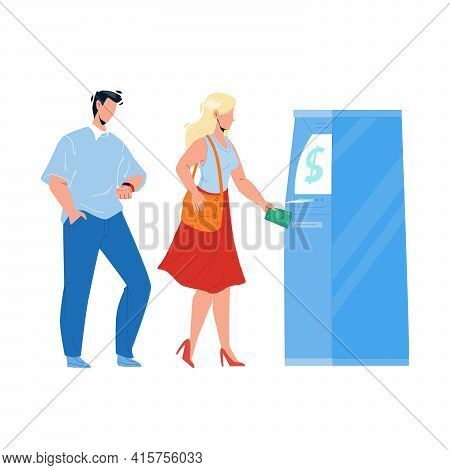 Atm Bank Machine Using Woman For Get Cash Vector. Young Girl And Man Use Atm Electronic Equipment Fo