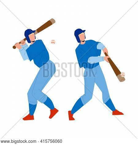 Baseball Player Hit Ball With Bat On Field Vector. Professional Baseball Player Playing Sport Game W