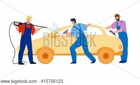 Car Wash Service Workers Washing Automobile Vector. Car Wash Station Man With Equipment Water Sprayi