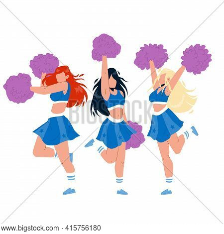 Cheerleaders Girls Dancing With Pompoms Vector. Cheerleaders Young Women Holding Pon-pon, Dance And