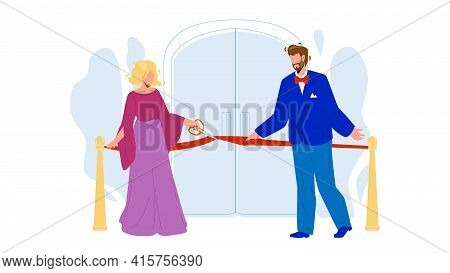 Grand Opening Ceremony, People Cut Tape Vector. Man And Woman Businesspeople Cutting Red Ribbon With