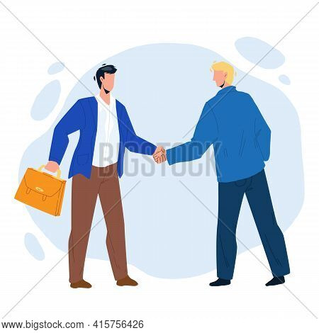 Handshaking Businessmen After Success Deal Vector. Businesspeople Handshaking Together, Successful S
