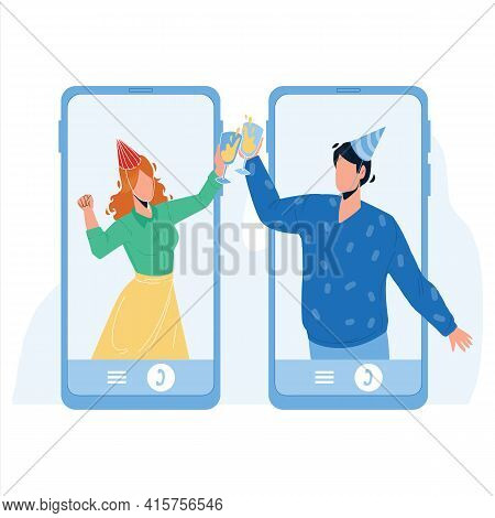 Online Celebrating Birthday Friends Couple Vector. Young Man And Woman Wearing Festival Hat And Hold