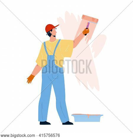 Painter Man Painting Wall With Roller Tool Vector. Painter Boy Renovating And Coloring Room With Pai