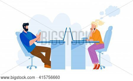 Procrastinating Office Workers Colleagues Vector. Man Play On Phone And Woman Sitting At Table, Watc
