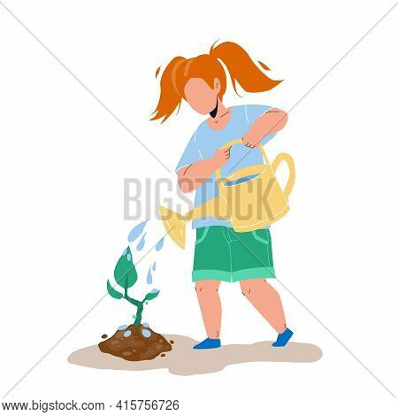 Sapling Planting And Watering Girl Child Vector. Tree Sapling Care Little Kid In Garden. Character P