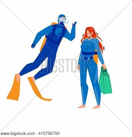 Scuba Diver Man And Woman Togetherness Vector. Scuba Diver Young Boy And Girl Wearing Swimming Costu