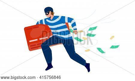 Thief Man Stealing Money From Credit Card Vector. Thief Running With Steal Finance, Bandit Burglar B