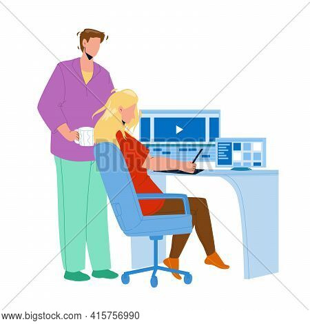 Video Editor Working On Laptop At Workplace Vector. Young Man And Woman Couple Video Editor Work Tog