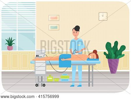 Woman Doing Massage With Special Apparatus. Girl Lies And Enjoys Body Procedure In Beauty Saloon