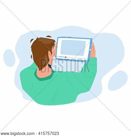 Man Watching Video On Tablet Digital Device Vector. Young Boy Watching Video On Electronic Gadget. C