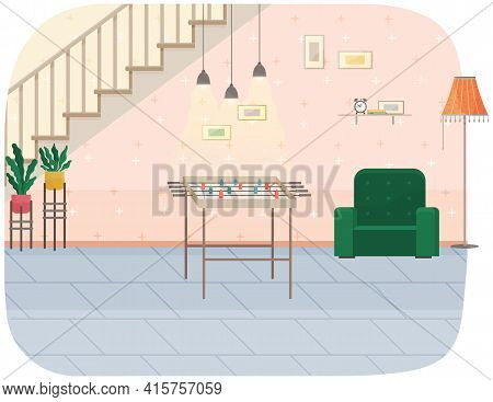 Modern Room Under Stairs Interior Design. Cozy Room With Table Football And Chair And Decor