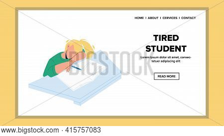 Tired Student Girl Sleeping At College Desk Vector. Tired Student Teenager Sleep At University Table